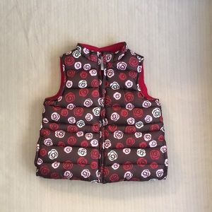 Gymboree Puffy Vest with Red and Pink Flowers
